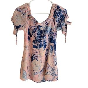 Mary & Mabel Marbled Tie Sleeve Off Shoulder Top